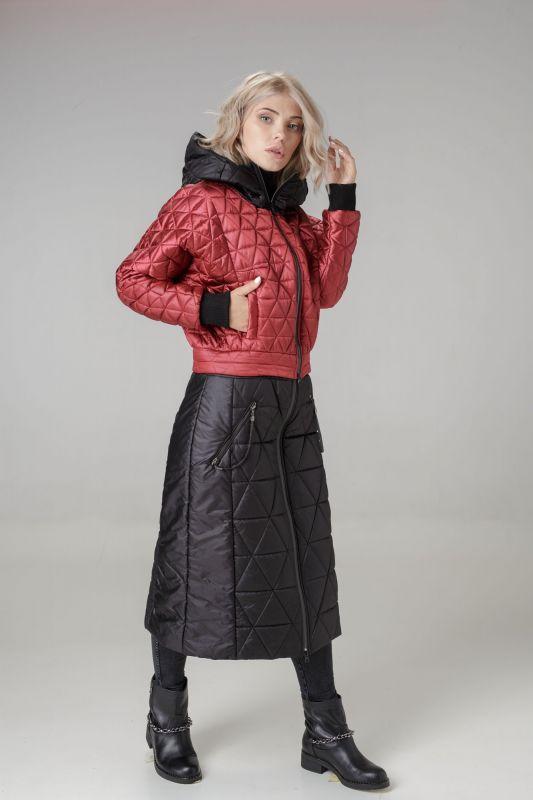 Пальто Alberto Bini Черный + Вишневый