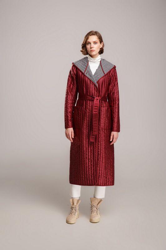 Пальто Alberto Bini Бордовый с серым