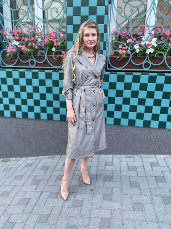 Платье-тренч Alberto Bini Серо-оливковый